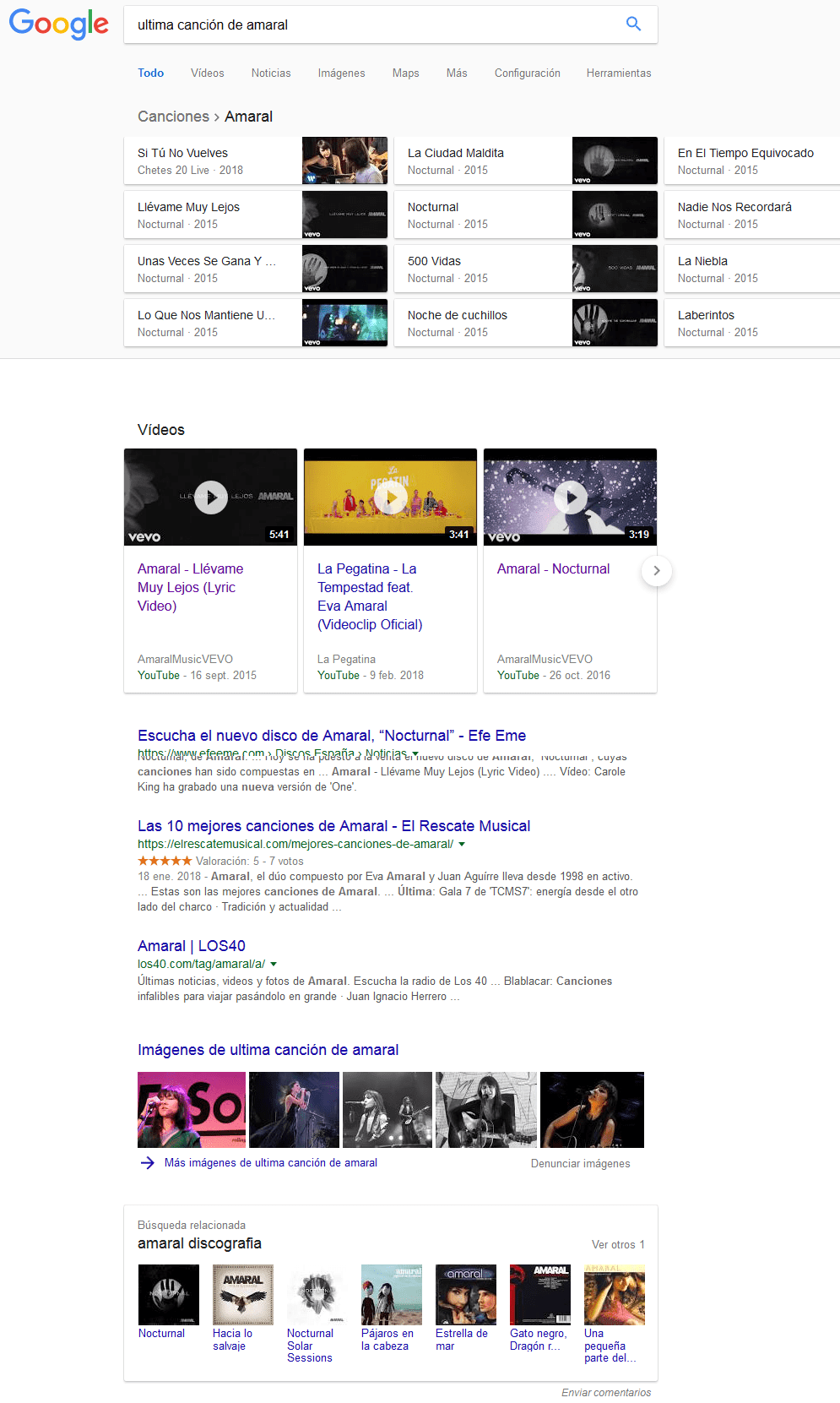 Ejemplo de distintos tipos de contenido en resultados de Google