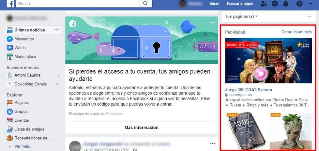 Ejemplo de anuncios en Facebook
