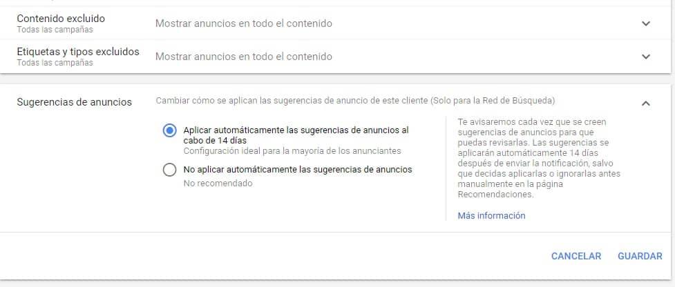 Configuración de sugerencias de Google Ads