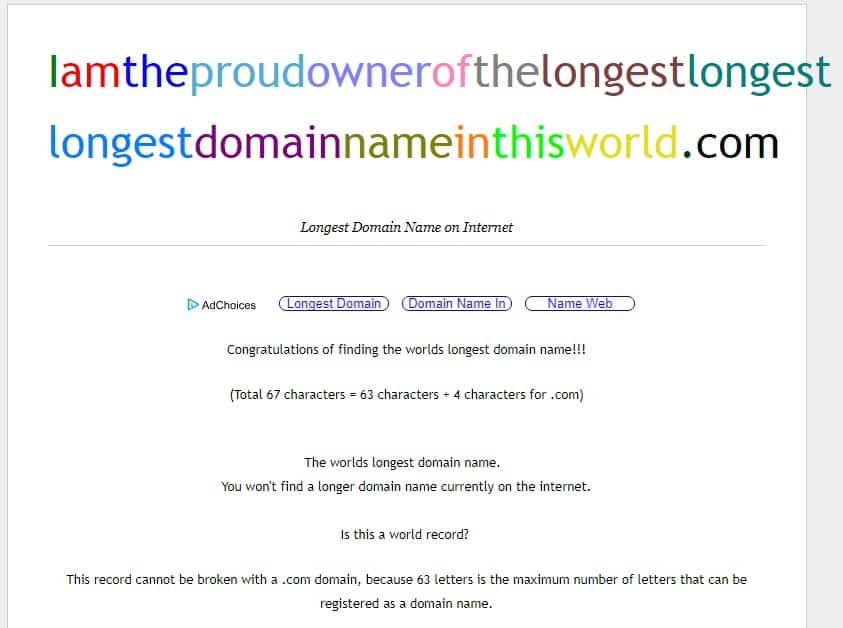 Ejemplo de dominio largo