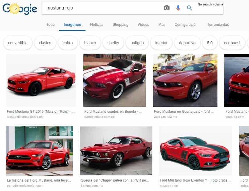 Ejemplo del buscador de imágenes de Google