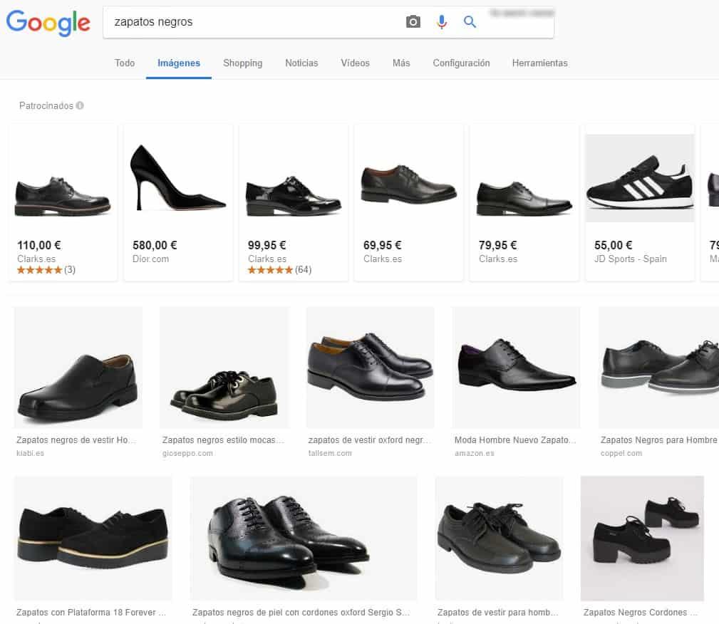 Ejemplo de búsqueda de zapatos negros