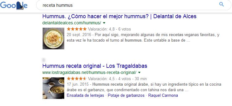 Ejemplo de resultados para receta de hummus